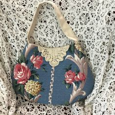 Handmade vintage nubby blue barkcloth antique doilies shoulder tote handbag by Linensandlooms on Etsy