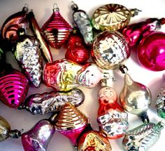 Vintage Christmas Baubles  Glass Ornaments by cherryshop on Etsy, $44.00