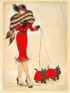Image result for VINTAGE WOMEN WALKING DOGS