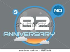 anniversary logo with blue circle, orange liquid and clouds. anniversary logo for birthday, wedding, celebration and party 82nd