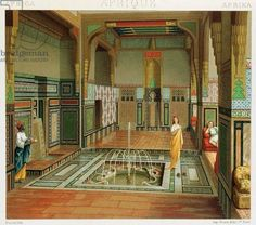 1888 Interior of a rich house in Cairo İllustration from complete Costume History by Auguste Racinet