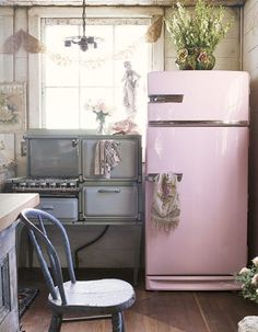 we had a fridge like this when I was a kid. the shelves were metal and turned all the way around. SOOO cool!