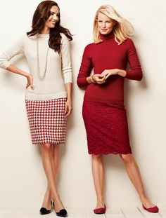 Wow, Talbots is modeling some of their pencil skirts with flats! (red ones on right) I love both of these skirts.