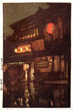 Hiroshi Yoshida, Night in Kyoto on ArtStack #hiroshi-yoshida #art