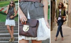 belted military vest, lace dress.