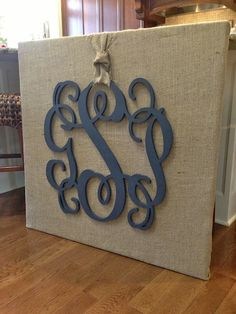 monogram on burlap covered canvas  wall art