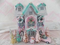 Amazing Vintage Inspired Handmade Christmas Glitter Putz House in Pink and Aqua