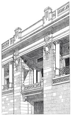 Detail of the competitive project palace. Architect Ladislaus Fiedler. The architecture of the second half of the XIX century. Drawings and sketches.