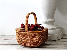 Small Wicker Handbag with Red Cherries On Top Wood Lid - Mid Century Straw Box Purse Vintage 1950's by SueEllensFlair on Etsy