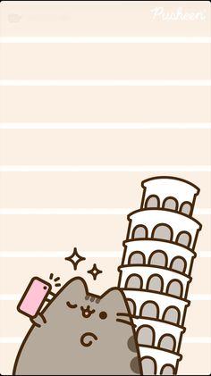 Pusheen cat wallpaper Selfie kitty at the Leaning Tower of Pisa Wallpapers Kawaii, Cute Cartoon Wallpapers, Kawaii Doodles, Cute Doodles, Cute Cartoon Drawings, Kawaii Drawings, Cat Wallpaper, Kawaii Wallpaper, Cute Wallpaper Backgrounds