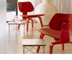 Eames molded plywood chairs & side tables...