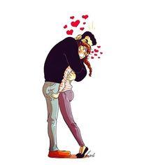by Yehuda Devir Couple Funny, Love Cartoon Couple, Cute Couple Comics, Couples Comics, Cute Couple Art, Cute Love Cartoons, Funny Couples, Couples Humor, Paar Illustration