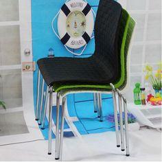 Sillas de Metal y plástico, patrón de rejilla, esperando silla, sillas de comedor de la manera, muebles de metal, silla de sala de vivir