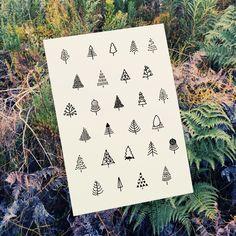 Trees Illustrated by Tatjana Buisson www.postcardhappiness.com #trees #pine #oak #illustration #stationery #cards #blackandwhite #tatjanabuisson #postcardhappiness