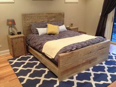 Reclaimed wood bedroom set queen bed frame  2 by witusik2000, $1599.00