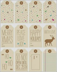 Free Printable Gift Tags - Lots of styles and graphics! Christmas Tags Printable, Free Printable Gift Tags, Holiday Gift Tags, Holiday Crafts, Holiday Fun, Free Printables, Noel Christmas, Christmas Wrapping, All Things Christmas