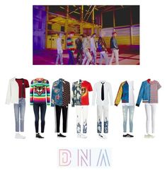 """BTS- D.N.A MV"" by mochichimchim ❤ liked on Polyvore featuring Boohoo, GRLFRND, Brandon Maxwell, Jen7, Gucci, MANGO MAN, Madewell, Sandro, T By Alexander Wang and Yves Saint Laurent"