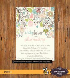 Baby Shower Invitation  Paisley Garden Baby by TheHoneyBeePress, $18.00