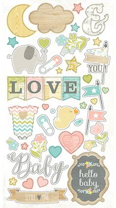 Simple Stories Hello Baby Chipboard Stickers