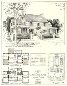 """Top is a """"sleeping porch"""" in this case. 1917 architectural design for a white pine house costing USD. The link includes the scanned floor plans, plot plan and architectural details. Architecture Design, Plans Architecture, Vintage Architecture, The Plan, How To Plan, The Sims, Plot Plan, Vintage House Plans, Vintage Homes"""