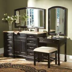 Bathroom With Makeup Vanity bathroom vanity with makeup vanity attached | 48 rosewood vanity