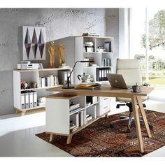 Ce bureau dangle au style scandinave blanc et bois clair