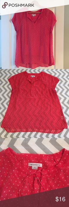 Liz Claiborne Top & Cami Set Beautiful bright coral sheer button down top with matching cami underneath. Slight cap sleeves on top, tie detail at neck and delicate fringe detail around the neckline. Top measures 22 at bust, 28.5 in length. Cami is 19 at bust relaxed (easily stretches to 22) and 22 in long. EUC. Liz Claiborne Tops