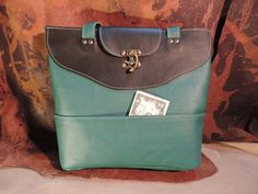 Hand made leather Tote Forest Green and black by RoundOakLeather