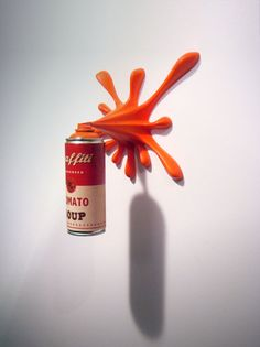 Graffiti Tomato Soup can by Graffiti2Fast - Objects shows an imaginary process of graffiti writing with a spray can from which the color splashes and creating colorfull, dynamic form on the wall. Objects are painted in Warhol's Tomato Soup can style.