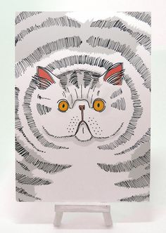 Items similar to Big Fat Cat Exotic Short Hair Illustration/Art Postcard on Etsy Hair Illustration, Postcard Printing, Fat Cats, A5, Etsy Store, Exotic, Short Hair Styles, Unique Jewelry, Pens