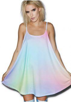 N/A, rainbow, pastel goth, babydoll strap dress
