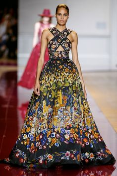 Zuhair Murad | It's going to be a Glittering Affair. There'll be beautifully turned-out Ladies in Black & Red & Ivory. That's not You. This is You - a Ravishing Silk Print like a Medieval Tapestry. It has a Crossed Bodice and a Lavish Skirt that ends in a Short Train. Now, let's go - a Suite of Huge Yellow Diamonds, a Fat Ruby & a Wide Diamond Bracelet. I've got Vintage-Style Gold Pumps and a Gold Clutch (It's all on this board). You know the rules and sometimes you bend them. - Gabrielle