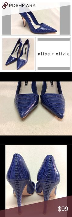 37 ALICE + OLIVIA blue leather Makayla heels See last photo for company specs. This pair is gently worn. Mild creasing to insole as photographed. Otherwise no major flaws. Alice & Olivia Shoes Heels