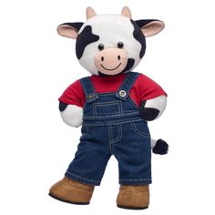 Online Exclusive Cuddly Cow Farmer Gift Set, , hi-res Bear Toy, Teddy Bear, Build A Bear Outfits, Cow Gifts, Happy Cow, Puppy Day, Kid Picks, Gifts For Farmers, Friend Outfits