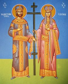 Saints Konstantinos and Helen.Traditional Byzantine art with acrylic color on wall. From my new job in the church of saint Sophia Arkadias . Saints Konstantinos and Helen Orthodox Catholic, Orthodox Christianity, Saint Helena, Byzantine Art, Orthodox Icons, Acrylic Colors, Saints, Angels, Greek