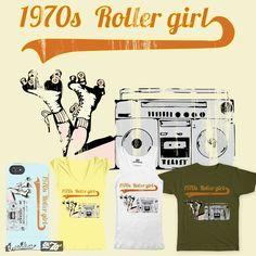 Roller girl and music on Threadless