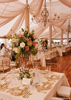 Mink fabric, old world chandeliers & florals with height -- love it! @Stoneblossom Floral and Event Design