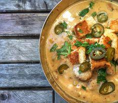 Grilled Elk Bratwurst Beer & Cheddar Soup