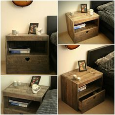 """A pallet nightstand to make yourself! [symple_toggle title=""""More information"""" state=""""closed""""] Website: Instructables ! Submitted by: Ruben van Dijk ! [/symple_toggle]"""