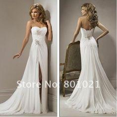 Sexy A-line Sweetheart Beaded Embellished Beach Chiffon Wedding Dresses