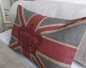 hand printed rustic union jack cushion with British army ensign overlay. $65.00, via Etsy.