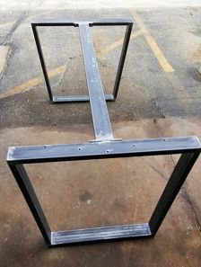 This listing is for set of 2 Trapezoid Tubing Legs with 1 or 2 Braces Dimensions on the Braces is 30 to 55 L - Made from 3 x 1 Steel Tubing. 14 gauge (.075) wall. There is 2 options: 1. With 1 Brace - center on the top 2. With 2 Braces on both sides on the top - finish : raw steel, clear coat, black flat There are dimensions H (height) and W ( top width)