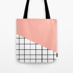 Grid and Pink Sky Tote Bag by Bravely Optimistic | Society6