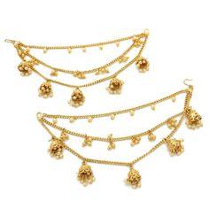 Gold Pearl Jhumki Indian Asian Pakistani Kan Chain Ear Chain Saharey Chain Gold Pearl, Silver Pearls, Jhumki Earrings, Dangle Earrings, Ear Chain, Hair Slide, Pearl Color, Weight Lifting, Pakistani
