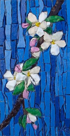 """Apple Blossom"" - mosaic by Kimmy McHarrie I need to do my cherry blossoms! Mosaic Artwork, Mosaic Wall Art, Glass Wall Art, Tile Art, Mosaic Mirrors, Stained Glass Patterns, Mosaic Patterns, Stained Glass Art, Mosaic Glass"