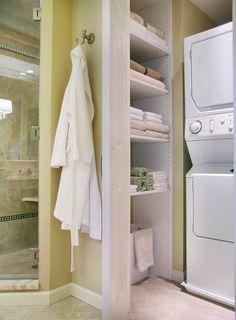 Basement bathroom: small space storage idea