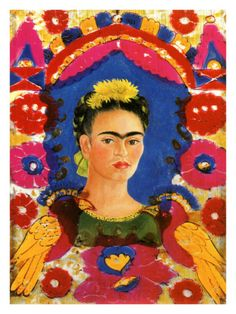 Self-Portrait with Flowers Giclee Print by Frida Kahlo at Art.com