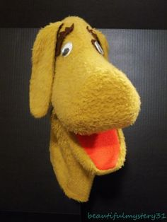 "Vtg Handmade By Puppet Productions 16"" Tan Brown Plush Dog Puppy Hand Puppet  #PuppetProductionsInc"
