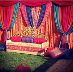 Fabric Backdrop for an Indian wedding event mehndi or Sangeet