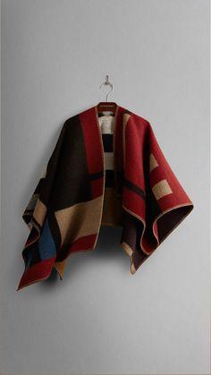 Colour Block Check Blanket Poncho   Burberry